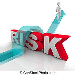 wort, risiko, gefahr, vermeiden, aus, gefahren, springende
