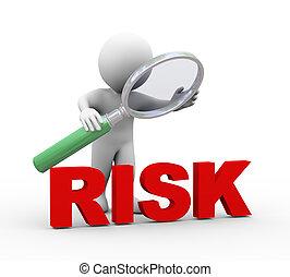 wort, risiko, schauen, vergrößerungsglas, 3d, mann
