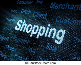 wort, schirm, pixeled, shoppen, digital