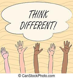wort, schreibende, text, denken, different., geschäftskonzept, für, rethink, änderung, auf, vision, erweben, neue ideen, innovate.