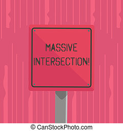 wort, schreibende, text, massiv, intersection., geschäftskonzept, für, atgrade, knotenpunkt, wohin, zwei, oder, mehr, straßen, treffen, oder, kreuz, 3d, quadrat, leer, bunte, achtung, straße zeichen, mit, schwarz, umrandungen, aufgestellt, auf, wood.