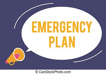 wort, schreibende, text, notfall, plan., geschäftskonzept, für, verfahren, für, antwort, zu, major, notfälle, sein, vorbereitet