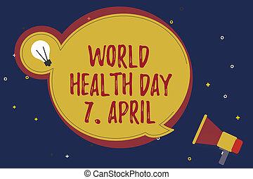 wort, schreibende, text, welt, gesundheit, tag, 7, april., geschäftskonzept, für, global, tag, von, bewusstsein, zu, verschieden, gesundheit, themen
