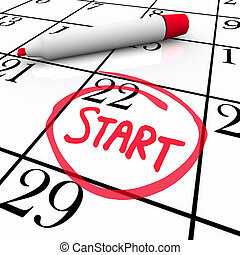 wort, start, umkreist, datum, kalender, beginnen, tag, markierung