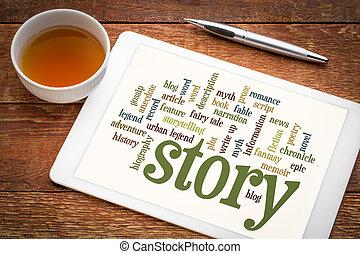 wort, storytelling, geschichte, wolke, tablette