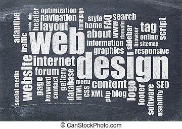 wort, tafel, web, wolke, design