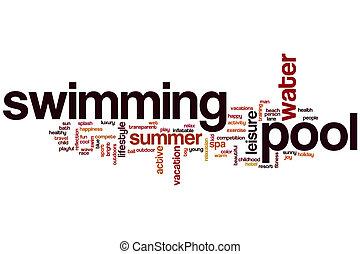 wort, teich, wolke, schwimmender