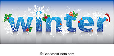 wort, winter., abbildung, vektor