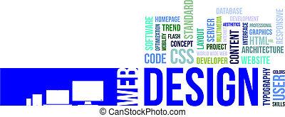 wort, wolke, -, netz- design