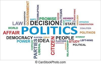 wort, wolke, -, politik