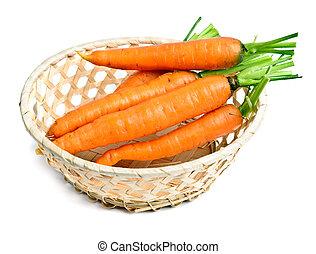 wortel, in, kleine, mand