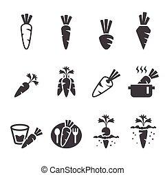 wortel, set, pictogram