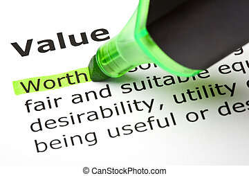 The word 'Worth' highlighted in green, under the heading 'Value'