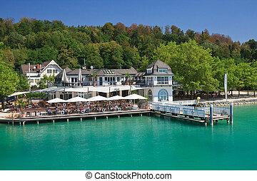 worth., klagenfurt., restaurant, rivage, carinthia., lac, ...