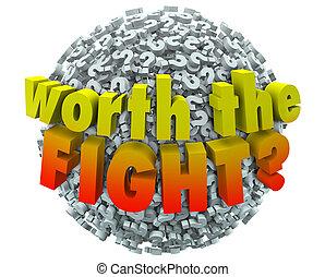 worthwhile, sfida, domanda, impegno, lotta, s, contrassegni, vaglia