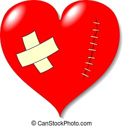 Wound on heart from love. It is isolated on a white ...