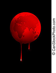 Wounded Eart - Illustration of a globe was dripping blood