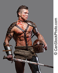 Wounded gladiator with muscular body in armour