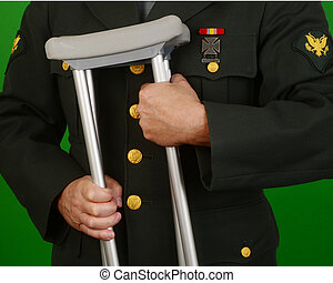 Wounded Veteran Soldier - Veteran soldier with crutches