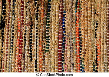 Woven area rug - Background of colorful lines in woven area...