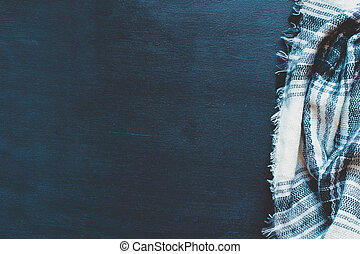 Woven Black and White Blanket Background with Blue Undertones