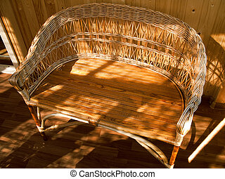 Woven chair - Wood wicker woven chair or armchair seat...