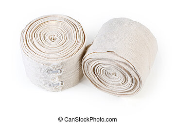 Two modern woven elastic medical bandages with aluminum stretchable clips rolled into rolls on a white background