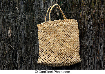 Woven flax bag traditional Maori culture - Woven flax bag...