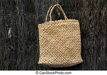Woven flax bag traditional Maori culture - Woven flax bag...