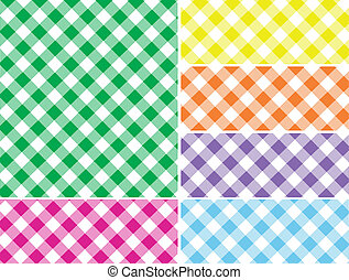 Woven Gingham Vector Swatches in 6 - Eps8. Woven gingham...