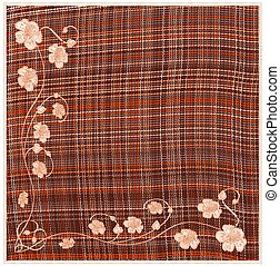 Woven grunge striped and checkered square napkin with floral applique and fringe in orange, white, brown colors