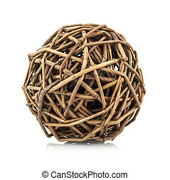 Woven wicker ball on white background