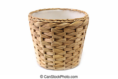 Woven wicker basket white background