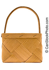 Woven Wooden Basket with Clipping Path