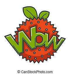 Wow big shiny sign on abstract strawberry illustration