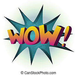Wow colored comic book vector illustration