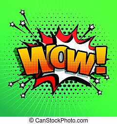 wow comic text sound effect speech bubble in retro pop style art