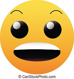 Wow emoji. Social media surprised, shocked face icon isolated on white background. Cartoon face.