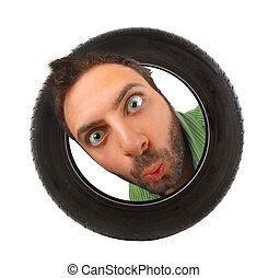 Wow expression in the car tire