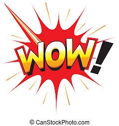WOW! Fun graphic icon starburst flash cartoon