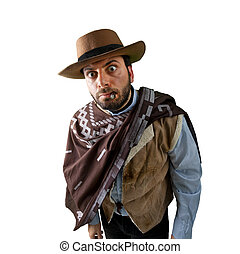 WOW Gunfighter in the old wild west on white background
