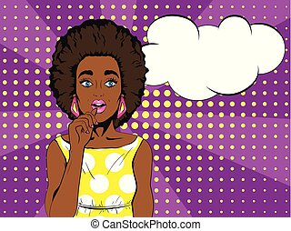 Wow pop art face. Surprised african woman with open mouth...