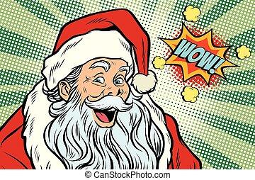wow Santa Claus Pop art retro