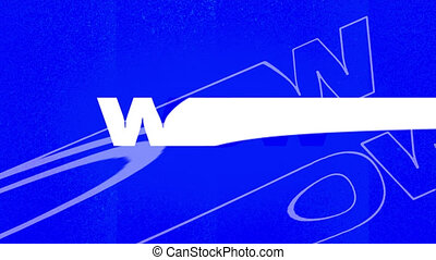 Animation of word Wow in white letters on changing blue, red and yellow background. Entertainment colour communication concept digitally generated image.