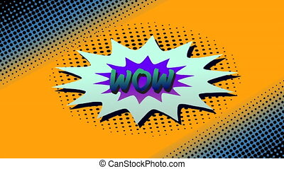 Wow text on speech bubble against orange background - ...