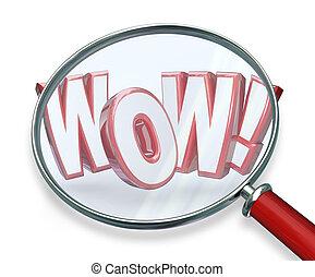 wow, woord, vergrootglas, zoeken, ontdekking, verbazend, vinden