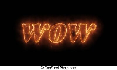 WOW Word Hot Animated Burning Realistic Fire Flame and Smoke Seamlessly loop Animation on Isolated Black Background. Fire Word, Fire Text, Flame word, Flame Text, Burning Word, Burning Text.