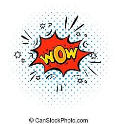 wow word pop art comic speech bubble with halftone...