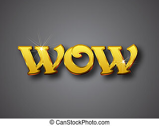 Wow Write in Big Gold 3D Font - Vector illustrator format....