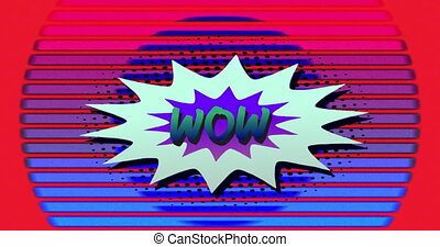Wow written on cartoon explosion with colourful concentric circles in the background. vintage interface, surprise, colour and movement concept digitally generated image.